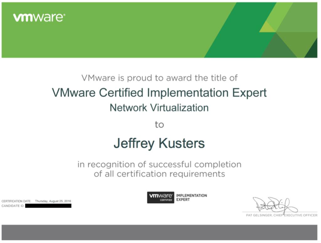 VMware Certified Implementation Expert – Network Virtualization (VCIX-NV) unlocked!