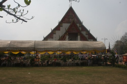 Tents and crowds mark Buddha Day at Wat Phra Si Sanphet, Ayutthaya, Thailand