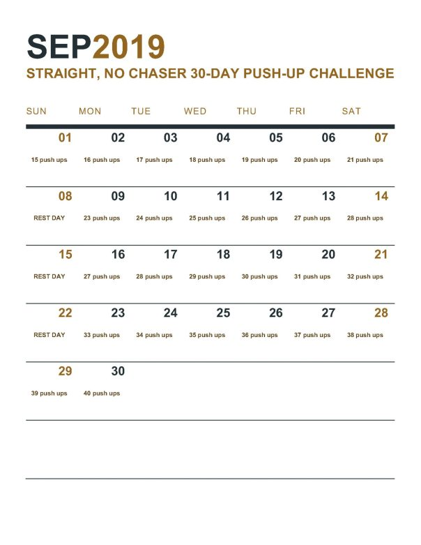 straight no chaser push up challenge