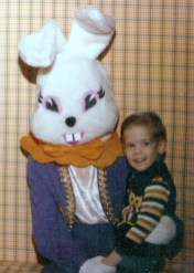 The scariest Easter Bunny in history. (Why wasn't I crying?)