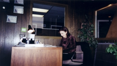 This is Anne, our receptionist. She's TRYING to look busy. (It was boring out there!)