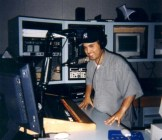 "Here's Luis doing his thing in the ""temp"" studio downtown. (They were still building Studio A.)"