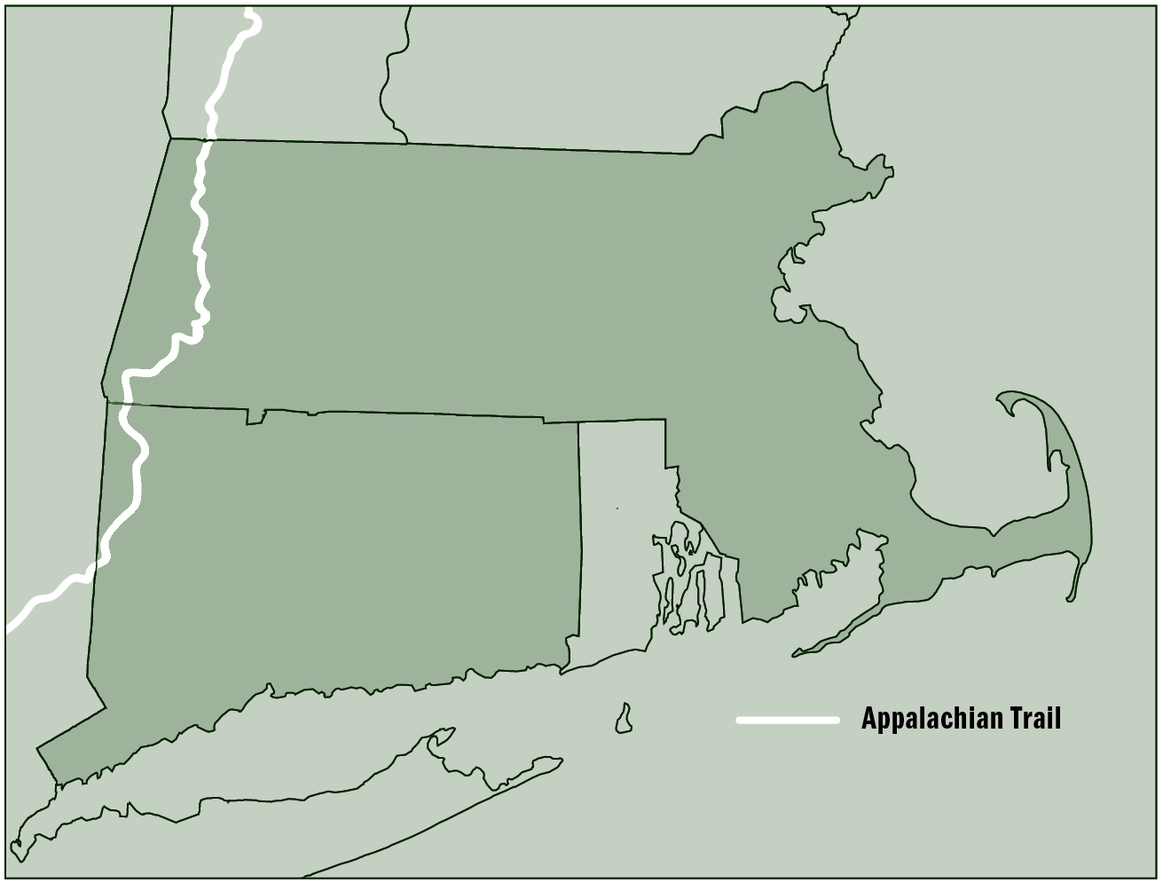 Map of Appalachian Trail in Massachusetts and Connecticut - Jeff ...