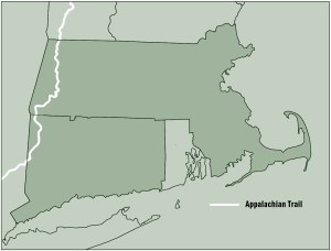 Map of Appalachian Trail in Massachusetts and Connecticut from Appalachian Odyssey: A 28-year Hike on America's Trail. Copyright 2016, Jeffrey H. Ryan.