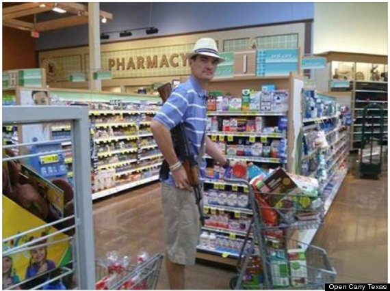 Yes, this is an actual photo of an open-carry enthusiast  shopping for drugs.
