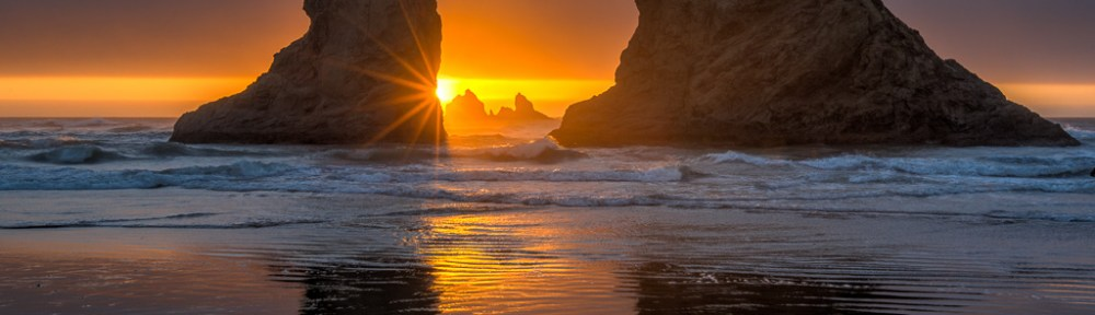 Sunset Reflection, Bandon Beach, Oregon Coast