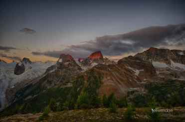 Houndstooth Spire with the Howser Towers at Sunrise