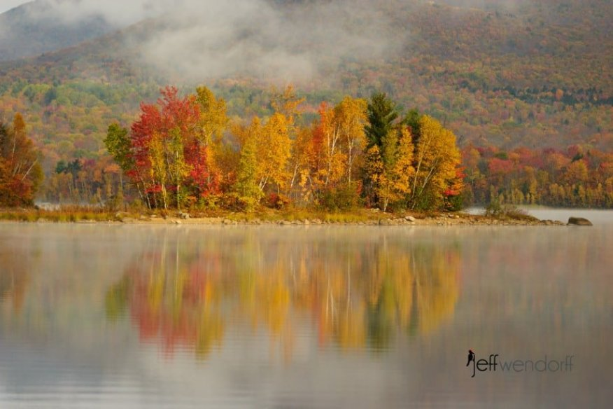 Foggy Fall Foliage at Chittendon Rservoir - Vermont photographed by Jeff Wendorff