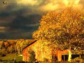 Stormy Weather Vermont Farm painted with Topaz Impression - Watercolor V