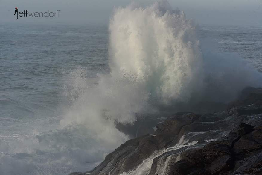 Wave exploding on the cliffs in Boiler Bay photographed by Jeff Wendorff