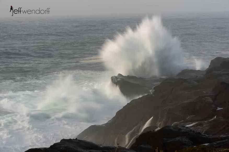 Emphasiziing the action with a slow shutter speed on tis wave in Boiler Bay by Jeff Wendorff