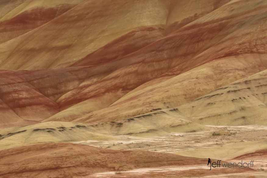 A closeup of the colorful rock formations in the Painted Hills photographed by Jeff Wendorff