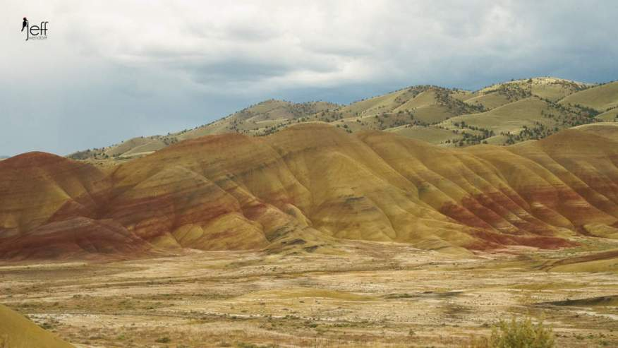Painted Hills- Panorama from a roadside pull out photographed by Jeff Wendorff