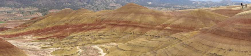 Another panoramic view of the Painted Hills from the Overlook Trail photographed by Jeff Wendorff