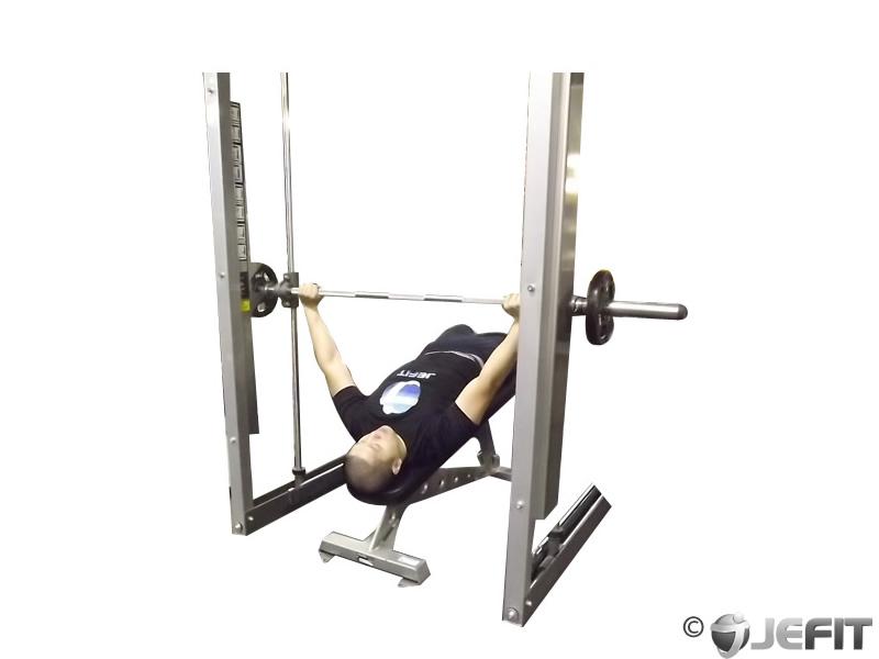 Smith Machine Wide Grip Decline Bench Press Exercise