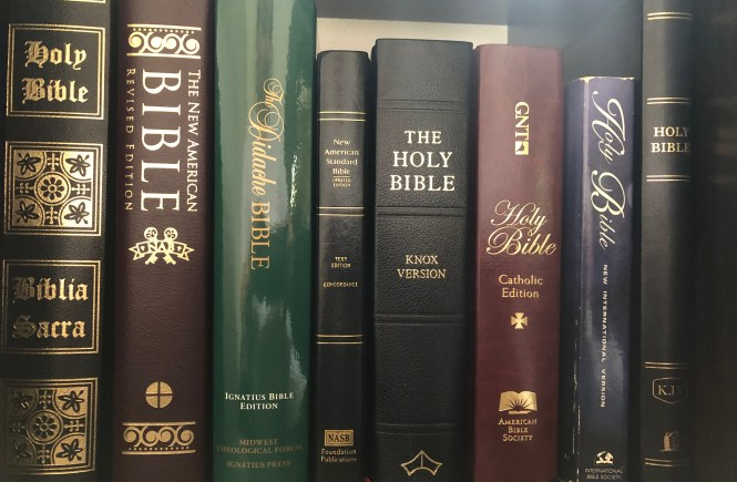 A shelf of bibles