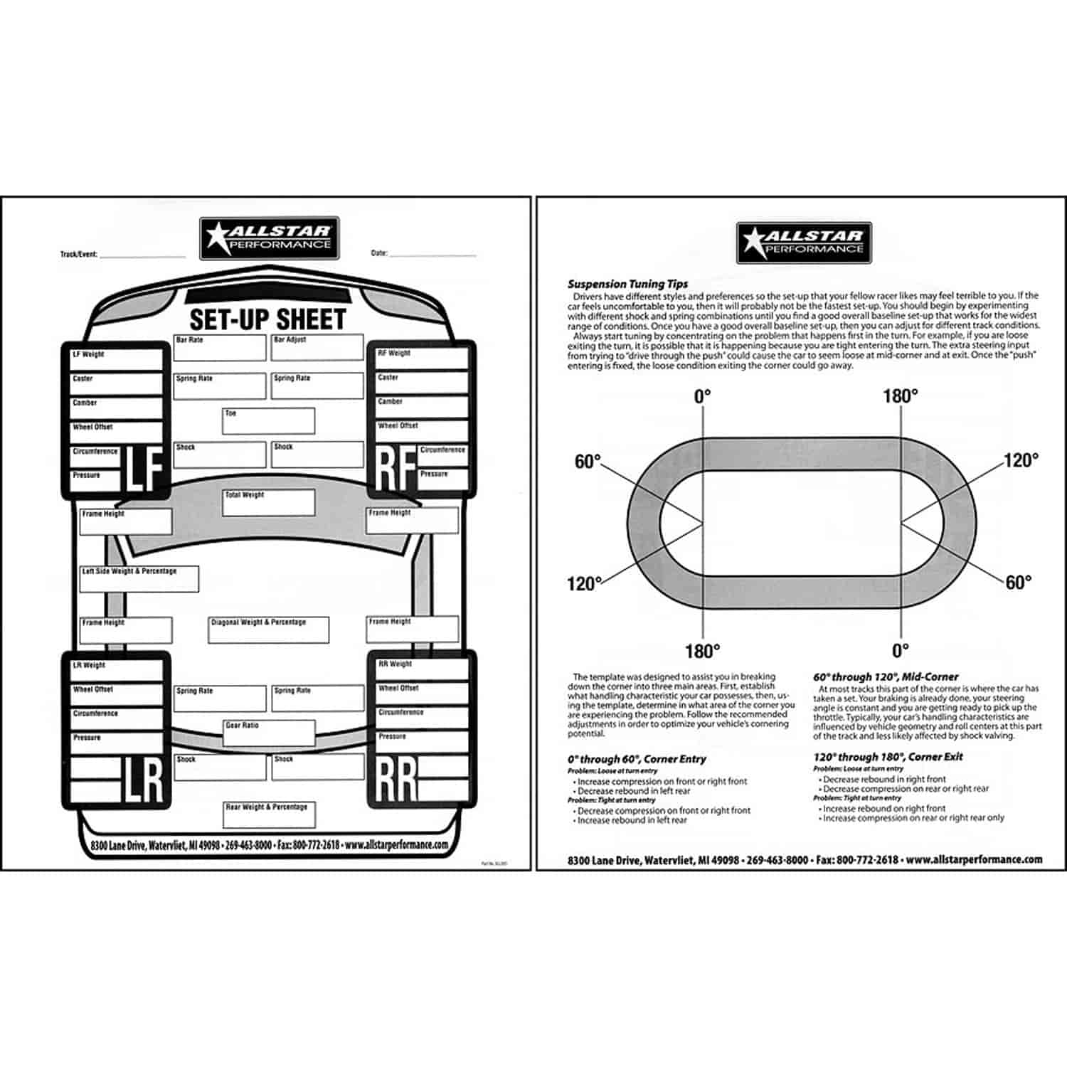 Allstar Performance All045 Circle Track Set Up Sheets 50