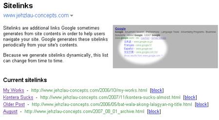 Sitelinks inside Google Webmaster Tools