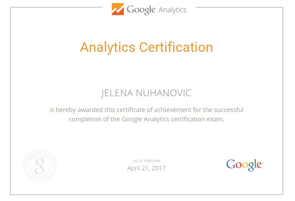 Certifications Jelena Nuhanovic