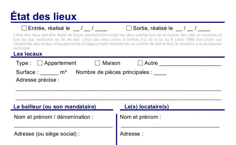Etat Des Lieux Gratuit Jelouebien Pdf Word Modèle 2019