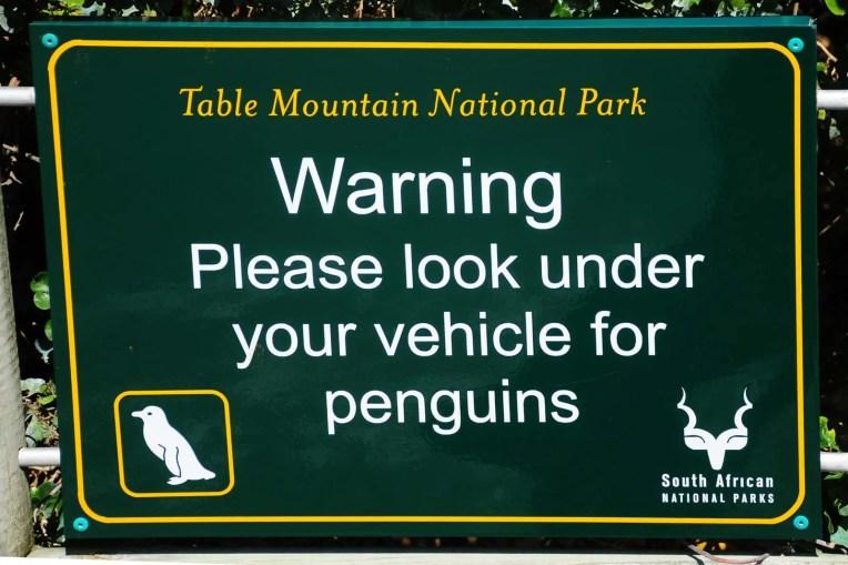 Panneau indiquant les pingouins