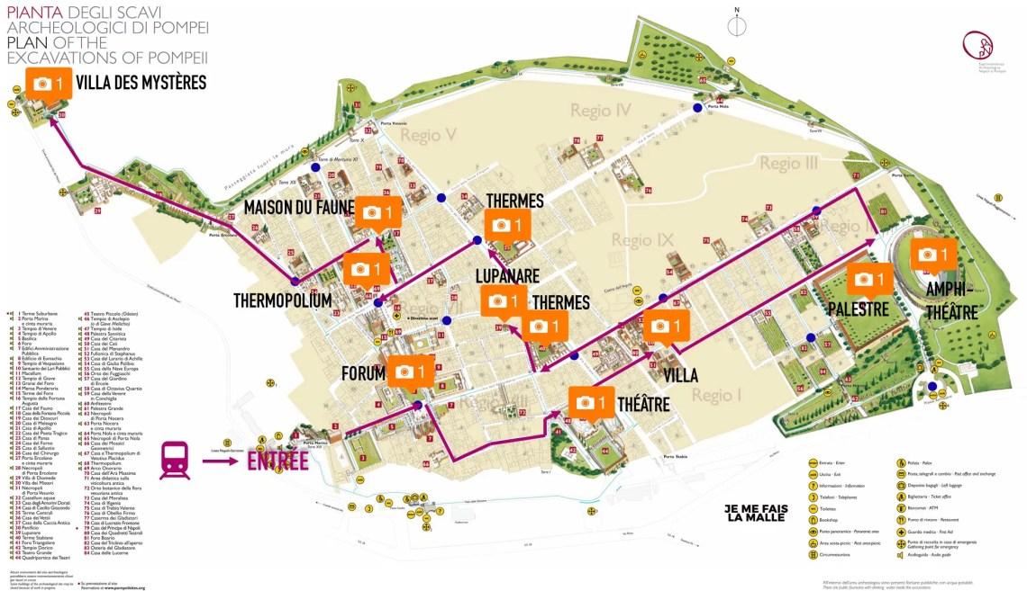 Carte parcours Pompéi, Italie