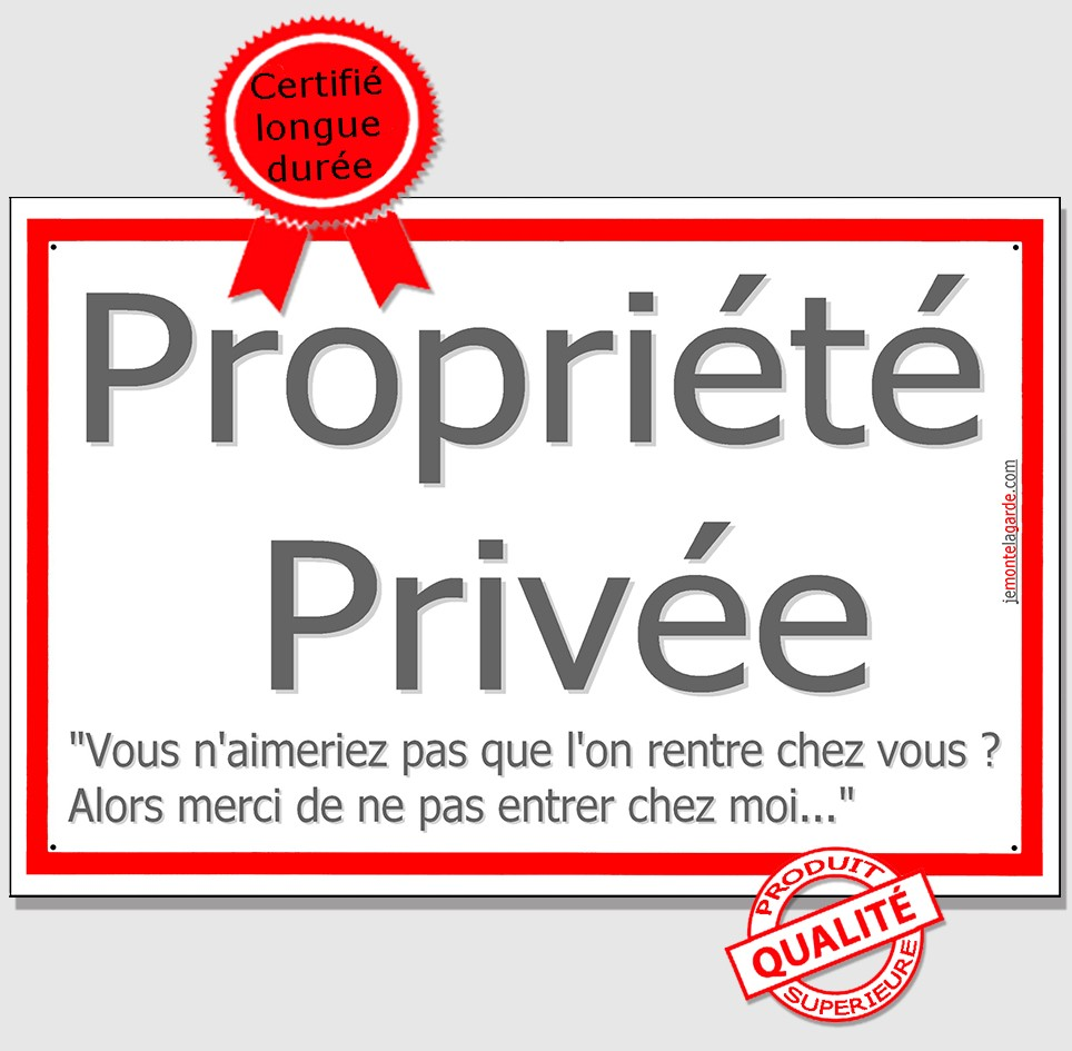 Plaque Propriete Privee Ne Pas Entrer Chez Moi Pancarte Lisere Rouge