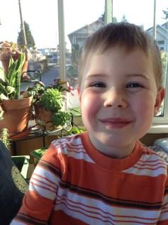 Sunny boy in a sunny room