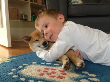 Cuddling Mooki.