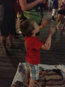 Watching your first fireworks show.