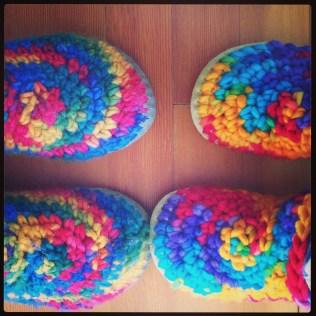 rainbow slippers