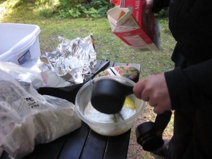 Adding the wet ingredients