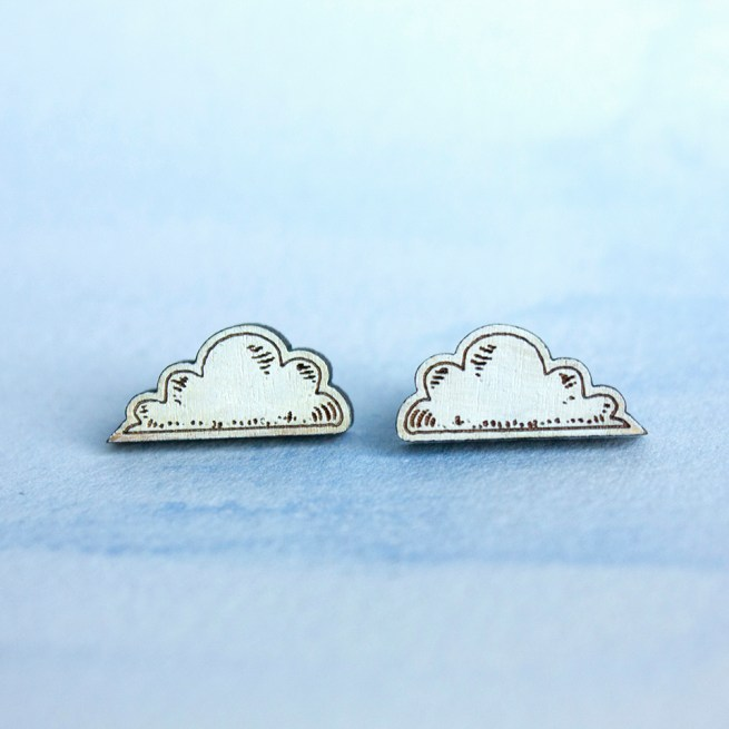Laser cut white cloud earrings
