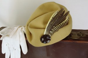 1940's style hat made from damaged vintage hat and found feathers