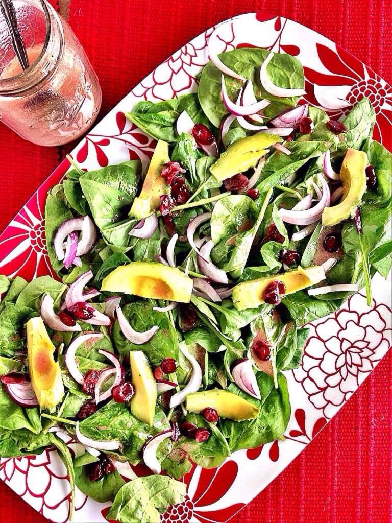 Cranberry Spinach Salad with Avocado 2
