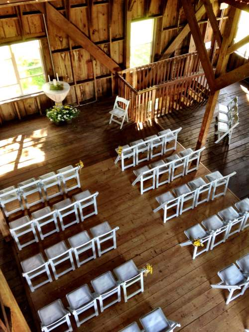 barn ceremony set up