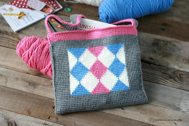 Diamonds In Tunisian Crochet Bag Jen Hayes Creations