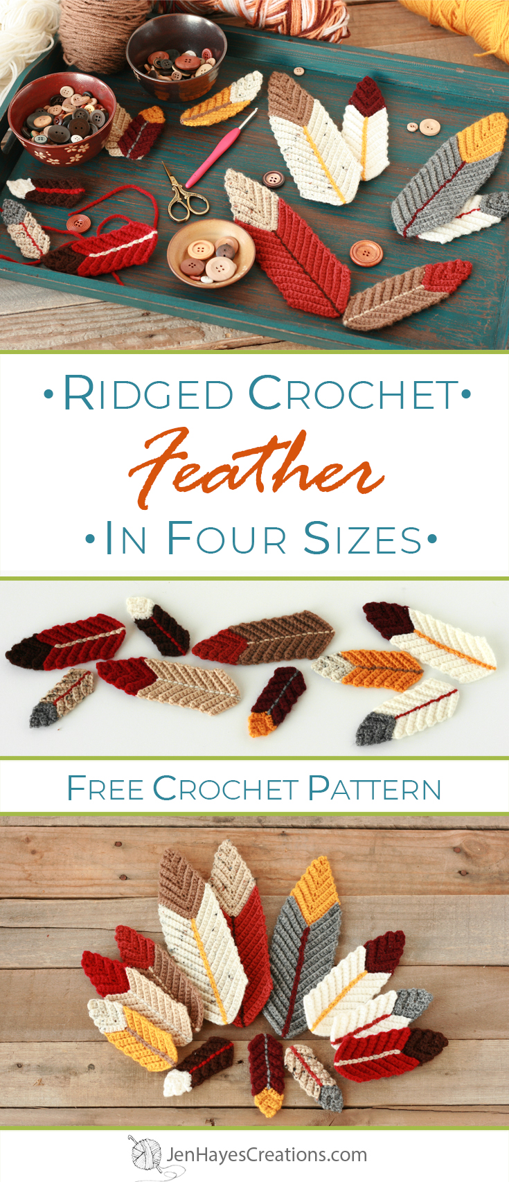 Ridged Crochet Feathers In Four Sizes Jen Hayes Creations