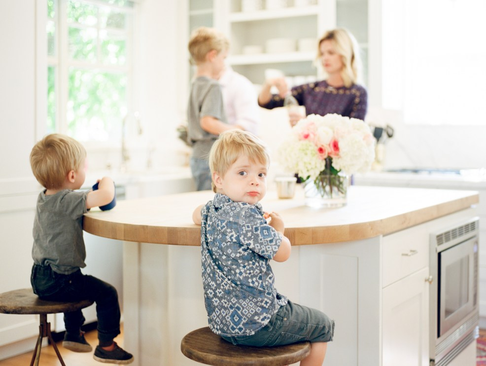 mom in the kitchen with boys