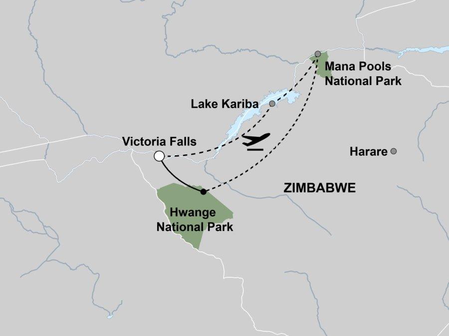 Highlights of Zimbabwe Map