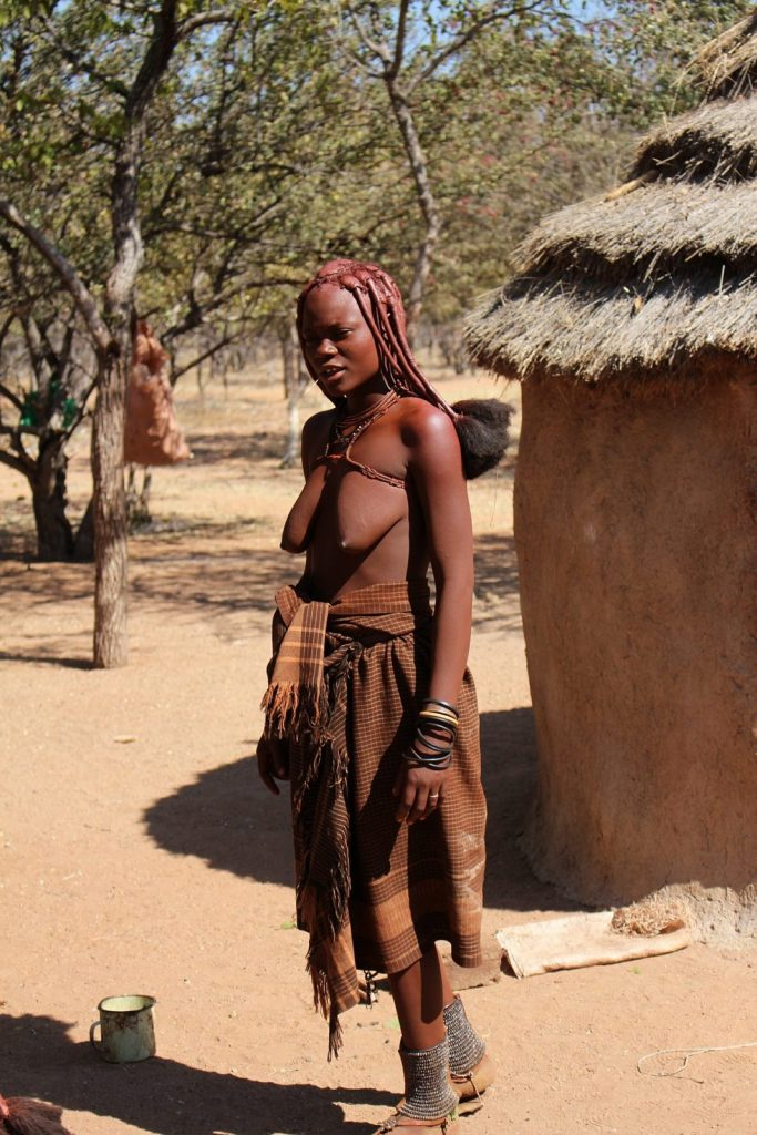 Himba woman in village