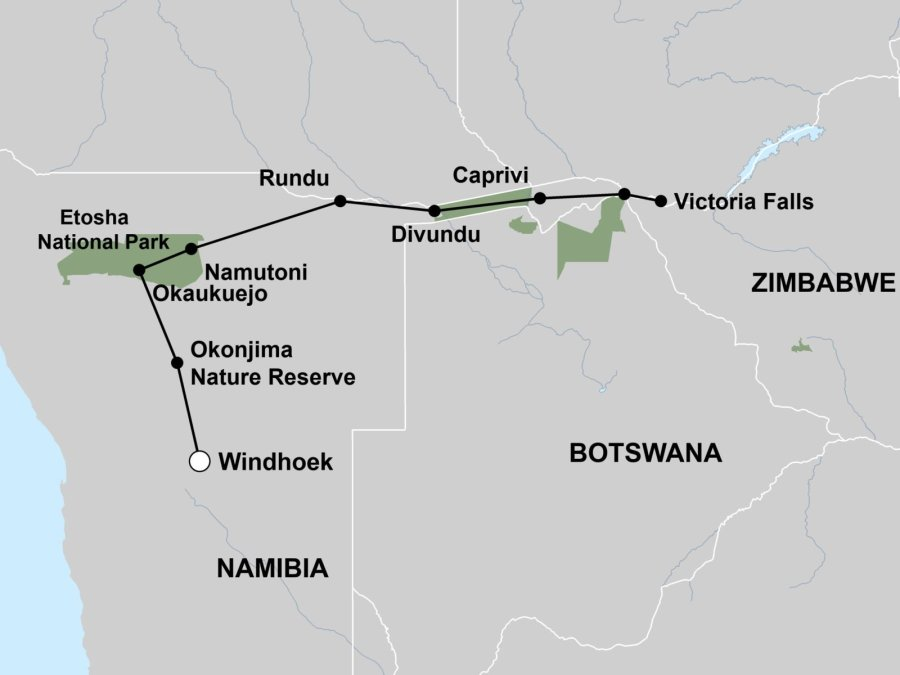 Map - Windhoek to Victoria Falls Self-Drive