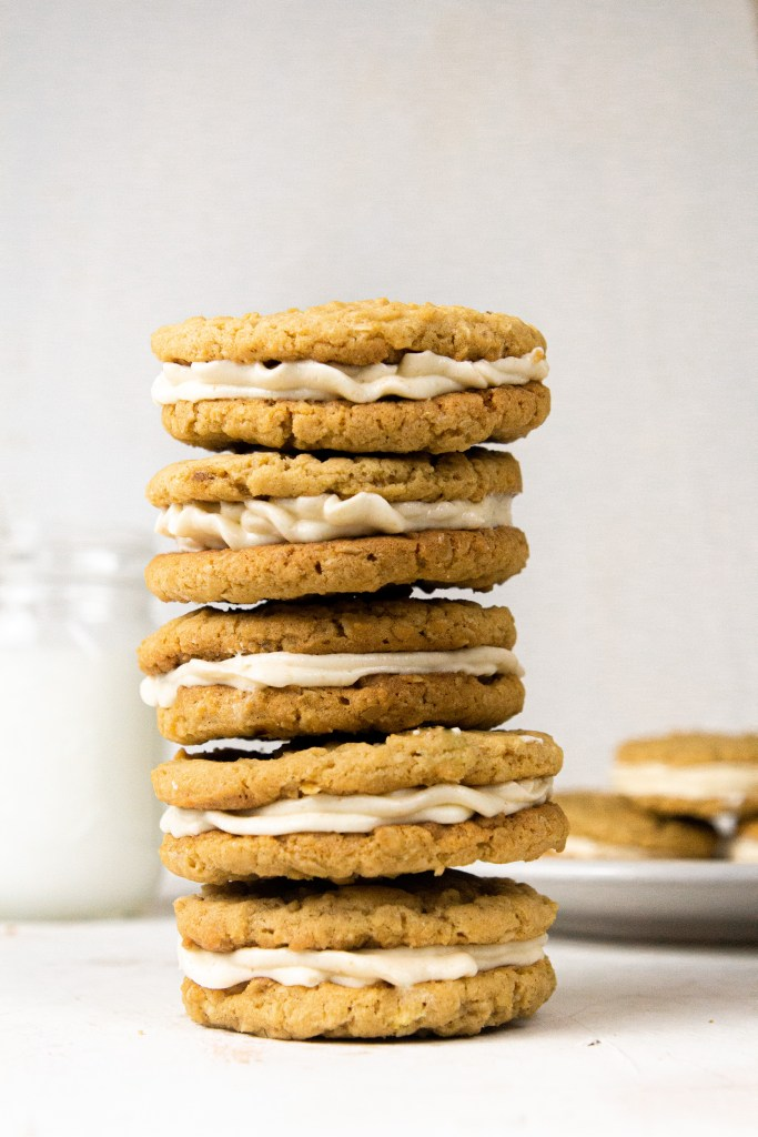 oatmeal cookies sandwiched with brown butter cream