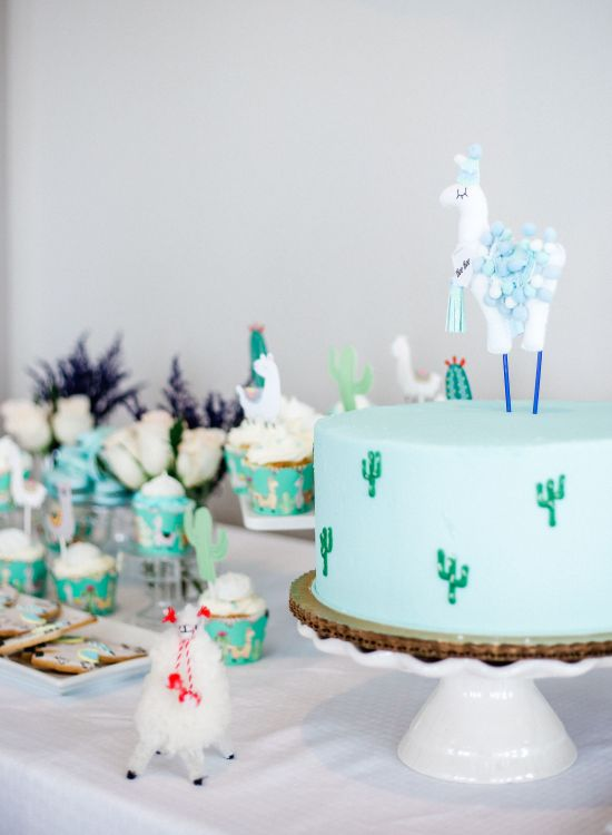Llama baby shower cake with customized wine labels from Etsy and llama cookies llama baby shower decorations