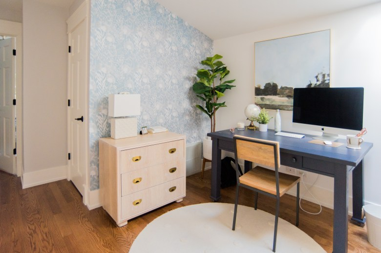 chicago home before and after renovation home office blue desk feminine lofted space