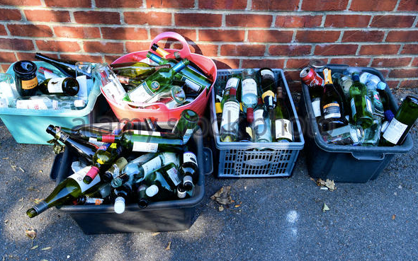 If you have this many wine bottles in your recycling boxes, you may have a problem.