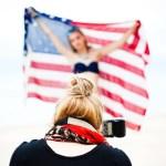 American flag behind the scenes