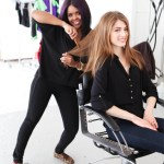 Hairstylist behind the scenes