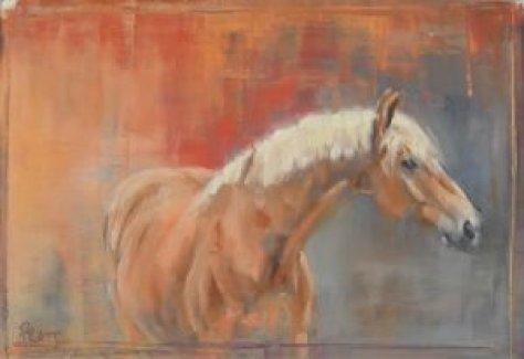 haflinger, equine art, Jennifer pratt, horse art, oil sticks