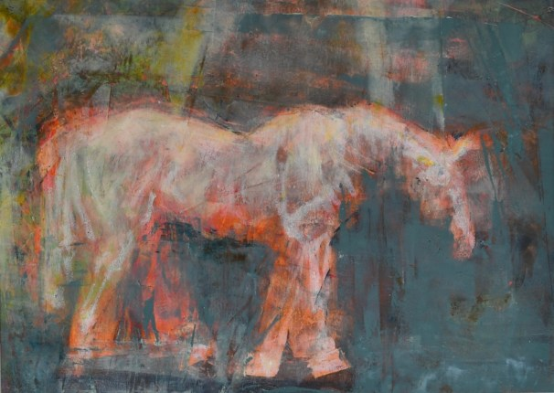 equine art, abstract, cold wax